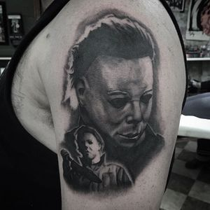 Michael Myers tattoo by Shane Murphy. #blackandgrey #realism #horror #Halloween #MichaelMyers #ShaneMurphy