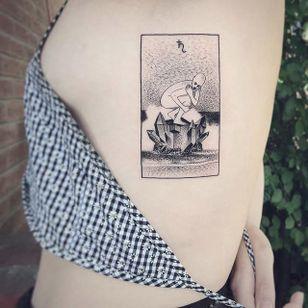 Surrealism box tattoo by Charley Gerardin. #CharleyGerardin #box #portrait #contemporary #pointillism #blackwork #dotwork #handpoke #surrealism