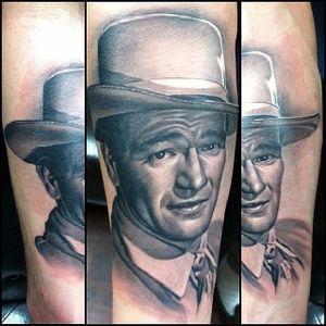 John Wayne Tattoo by Remo Grilli #johnwayne #johnwaynetattoo #wildwest #hollywood #hollywoodtattoos #movie #films #movietattoos #cowboy #RemoGrilli