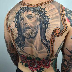 Black and Grey Jesus Tattoo by Dan Pemble #blackandgrey #Jesus #BlackandGreyJesus #Religious #Christ #DanPemble