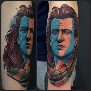 Braveheart Tattoo by Jack Goks #Braveheart #BraveheartTattoo #MelGibson as #WilliamWallace #Portrait #MoviePortraits #JackGoks