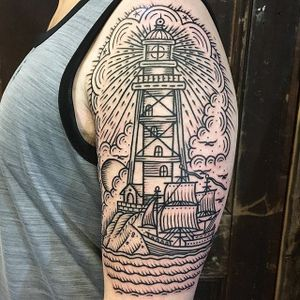 By Rob Banks #RobBanks #linework #lighthouse #ship #scrimshaw #EastriverTattoo