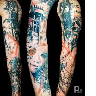 Sleeve by Paul Talbot #Postmodern #Abstract #PostmodernTattoos #ContemporaryTattoos #ModernTattoos #ArtisticTattoos #PaulTalbot #sleeve #contemporary #modern #artistic