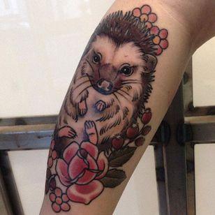 Hedgehog tattoo by Gem Carter. #neotraditional #hedgehog #animal #flower #gemcarter
