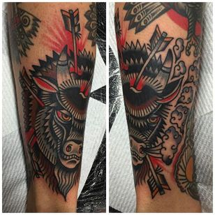 Buffalo Tattoo by Will Duncan #Buffalo #BuffaloTattoo #Bison #AmericanTraditional #Traditional #WillDuncan