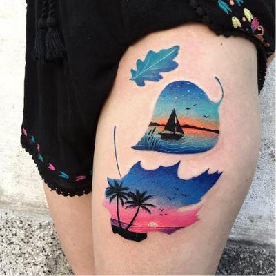 Folhinhas #DariaStahp #gringa #neotraditional #degrade #fullcolor #sillhouette #silhueta #landscape #paisagem #sobreposição #overlap #folha #leaf #beach #praia #arvore #tree #barco #boat #sun #sol #ceu #sky
