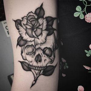 Skull and flower. (via IG - jordy_hooper) #Black #BlackTattoos #JordanHooper #skull #flower
