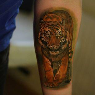 Badass realistic tiger tattoo. #GienaRevess #realistic #realism #3D #photorealism #tiger
