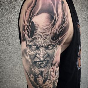Satan by Jhon Gutti (IG—jhongutti). #blackandgrey #horror #JhonGutti #realism #Satan