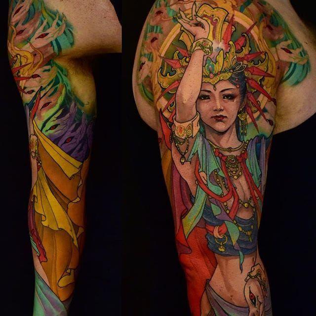 Avalokitesvara Tattoo by Tristen Zhang #japanese #neotradtional #neotraditionaljapanese #japaneseart #woman #lady #crown #TristenZhang