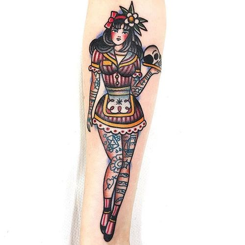 Sassy pin-up by Dani Queipo #DaniQueipo #color #traditional #pinup #tattoooftheday