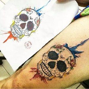 #EricSkavinsk #ericskavinsktatoo #tatuadoresbrasil #caveiramexicana #mexicanskull #watercolor #aquarela