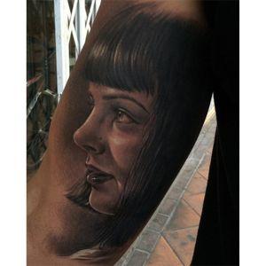 Black and grey Mia Wallace tattoo by Fredy Tomas. #FredyTomas #blackandgrey #MiaWallace #femmefatale #classic #pulpfiction #cultfilm #film #movie #QuentinTarantino #moviecharacter #femmefatale #portrait