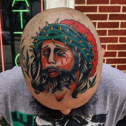 Jesus Tattoo by Alex Zampirri #jesus #jesustattoo #traditional #traditionaltattoo #oldschool #traditionalartist #AlexZampirri