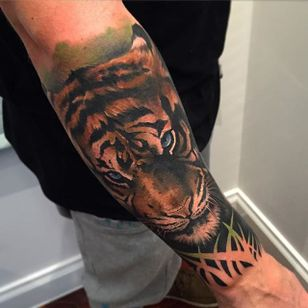 Tiger tattoo by Benjamin Laukis. #realism #colorrealism #BenjaminLaukis #tiger #bigcat