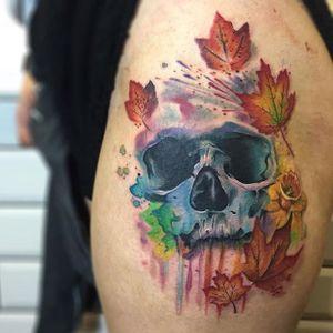 Skull Tattoo by Jason Adelinia #skull #watercolorskull #watercolor #watercolorartist #JasonAdelinia