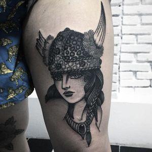The most badass viking lady head ever Tony Nilsson (IG—tonybluearms). #blackandgrey #ladyhead #TonyNilsson #traditional #viking