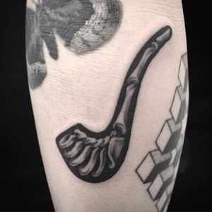 Pipe tattoo by @Garaskull #skeleton #black #blackwork #xray  #pipe