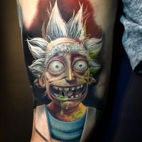 Rick and Morty Tattoo by Kegan Hawkins #TaterTatts #KeganHawkins #colortattoo #realismtattoo #realistictattoo #rickandmortytattoo #tvtattoo #cartoontattoo #adultswimtattoo #scifitattoo #tattoooftheday