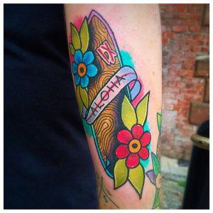 Surfboard Tattoo by Matt Daniels #surfboard #surfing #traditional #MattDaniels