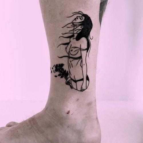 Blackwork tattoo by Thorn Walker. #ThornWalker #blackwork #alternative #woman #nude