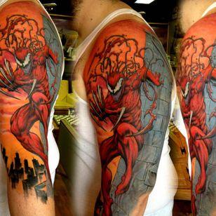 Carnage Tattoo, artist unknown #CarnageTattoos #SpiderManTattoo #SpiderManTattoos #SpiderMan #MarvelTattoos #ComicTattoos #ComicBook #SuperVillains