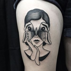 Blackwork butterfly woman tattoo by Lara Brind'amour. #LaraBrindamour #blackwork #woman #lady #grim #dark #portrait #butterfly
