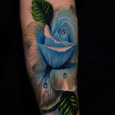 Blue is the warmest color by Phil Garcia #PhilGarcia #realism #realistic #hyperrealism #photorealism #rose #flower #leaves #nature #dewdrops #water #tattoooftheday