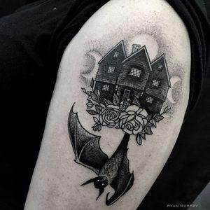 17th Centure Salem House by Ryan Murray (via IG-blackveiltattoo) #blackandgrey #halloween #spooky #macabre #bat #house #RyanMurray #BlackVeilStudio