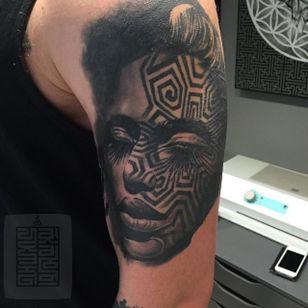 Face tattoo by Joz #Joz #MarkJoslin #blackwork #geometric #blackandgrey (Photo: Instagram @joz100)
