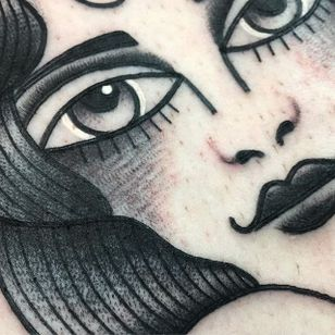 Close up. (via IG - wastedhappyyouth) #traditional #blacktraditional #blacktattoo #lucaswagner #lady