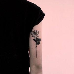Rose tattoo by Thorn Walker. #rose #blackwork #longstemmedrose #ThornWalker