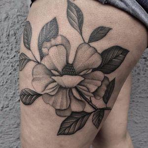 Magnolia by Justin Ryan Olivier #JustinRyanOlivier #blackandgrey #blackwork #magnolia #flower #leaves #floral #nature #tattoooftheday