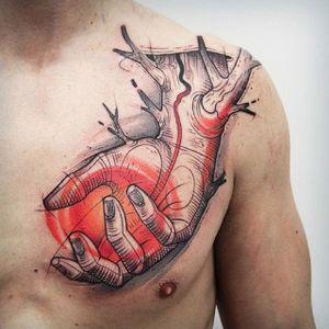Hand tattoo. #KatiBerinkey #hand #sketchtattoo #sketchstyletattoo