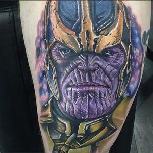A fearsome depiction of Thanos via Alex Rattray (IG—alex_rattray_ink). #AlexRattray #GuardiansoftheGalaxy #nerdytattoos #portraiture #realism #Thanos