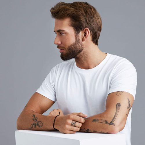 A perfectly fitted plain white t-shirt from #sonofatailor is the perfect complement to these simple #blackandgreytattoos.