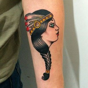 Traditional Native Indian girl tattoo by Giuseppe Messina #Gypsy #Girl #GiuseppeMessina #traditional #native #girl
