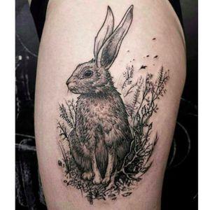 Awesome looking hare tattoo done by Gabor Zolyomi. #GaborZolyomi #FatumTattoo #blackwork #illustrativetattoo #hare #rabbit