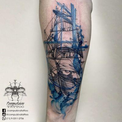 #MayaraCompulsiva #tatuadorasdobrasil #navio #ship #aquarela #watercolor #mar #sea