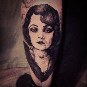 Woman portrait tattoo by Jean-Luc Navette. #JeanLucNavette #blackwork #vintage #gothic #woman #dark #portrait