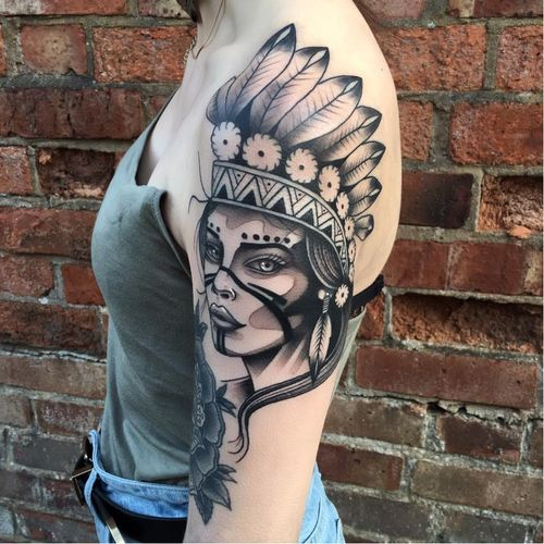 Native girl tattoo by Matt Stopps #MattStopps #monochrome #nativeamericangirl