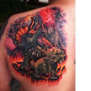 Dinosaurs tattoo by Steven Compton #StevenCompton #newschool #dinosaur