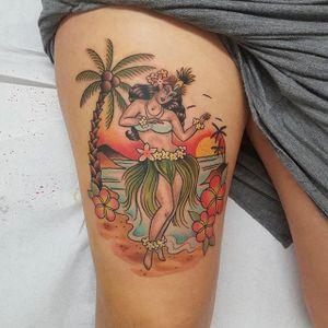 Beach tattoo by Katie Trojan. #beach #summer #paradise #ocean #vacation #getaway #hula #hawaiian #hawaiiangirl #pinup