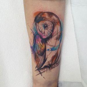 Owl Watercolor Tattoo by Josie Sexton #Watercolor #WatercolorTattoo #WatercolorTattoos #WatercolorArtists #WatercolorDesigns #WatercolorInspiration #JosieSexton