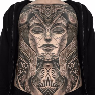 Crazy full torso piece by Jondix #Jondix #blackwork #blackandgrey #geometric #geometry #pattern #sacredgeometry #skull #portrait #lady #faec #tribal #neotribal #linework #dotwork #tattoooftheday