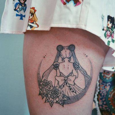 Princess Serenity tattoo by Lady Crimen #LadyCrimen #sailormoontattoos #linework #dotwork #illustrative #anime #manga #sailormoon #moon #princessserenity #roses #flowers #floral