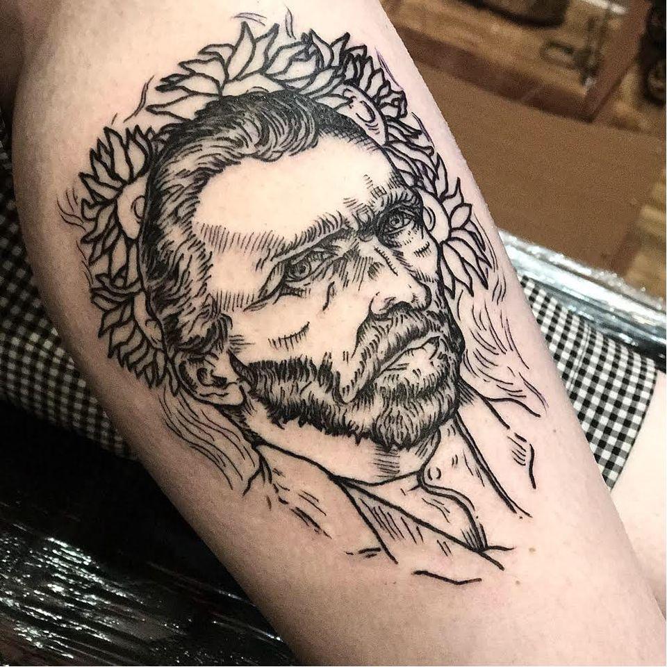 #KaylieghSmith #VincentVanGogh #VanGogh #arte #art #blackwork #homem #man #flor #flower #sunflower #girassol