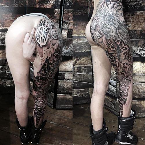 Crazy leg sleeve by Glenn Cuzen. (Via IG - glenncuzen)
