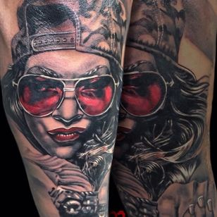 Rad looking black and red portrait of a girl. Tattoo by Martin Kukol. #MartinKukol #realistic #mARTink #shades #girl #blackandred