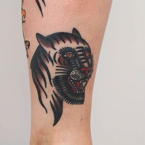 Tiger Tattoo by Vic James #tiger #BertGrimm #oldschool #traditional #VicJames
